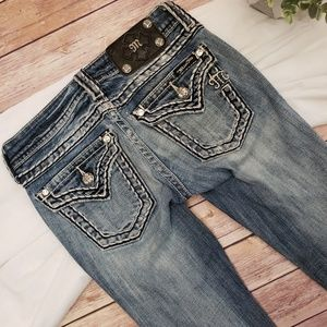 MISS ME SKINNY DISTRESSED LOW RISE JEANS SIZE 24